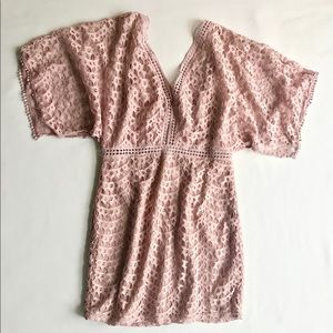 Forever 21 Pink Lace Embroidered Butterfly Dress M